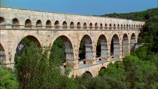 ws, pont du gard, nimes, france - aqueduct stock videos and b-roll footage