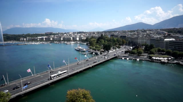 pont du mont blanc bridge on rhone river in geneva, switzerland - rhone river stock videos & royalty-free footage
