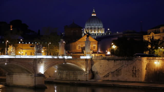 ws ponte sant angelo and dome of vatican in dusk / rome,lazio,italy - rome italy video stock e b–roll
