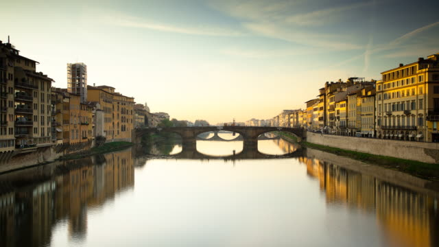 ponte santa trinita bridge, florence, day to night timelapse - florence italy stock videos and b-roll footage