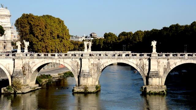 ponte sant'angelo, rome (hd) - ponte stock videos & royalty-free footage
