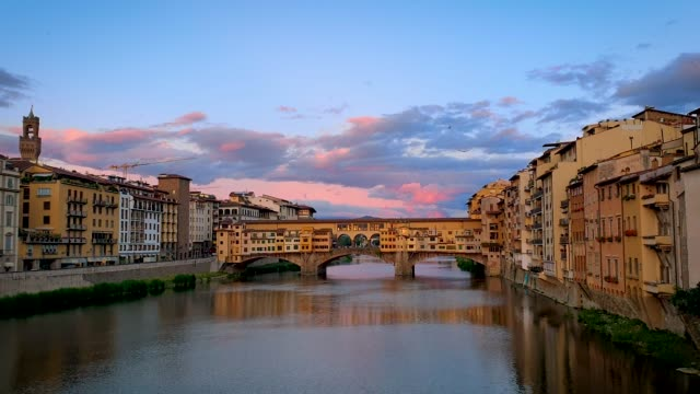 ponte vecchio in sunset, florence, italy - ponte stock videos & royalty-free footage