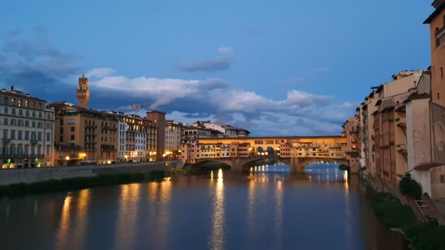 ponte vecchio in twilight, florence, italy - ponte stock videos & royalty-free footage