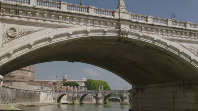 ms ponte vittorio emanuele ii on river tiber / rome, italy - arch bridge stock videos and b-roll footage