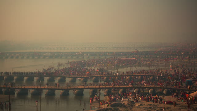 Pontoon bridges at the Kumbh Mela hindu festival