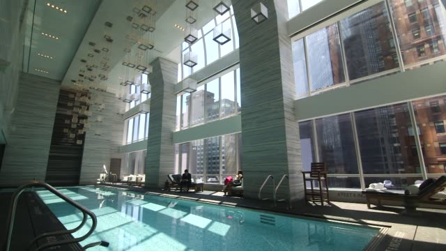 stockvideo's en b-roll-footage met pool and spa at the park hyatt hotel in new york ny on august 26 2014 pans and sliding shots of the pool and spa area - hyatt
