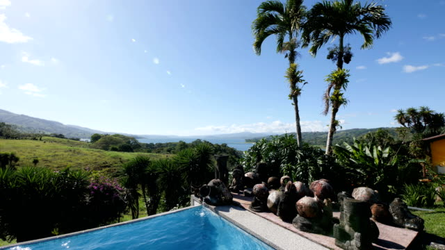 pool at small touristic villa at the mountains - hill stock videos & royalty-free footage