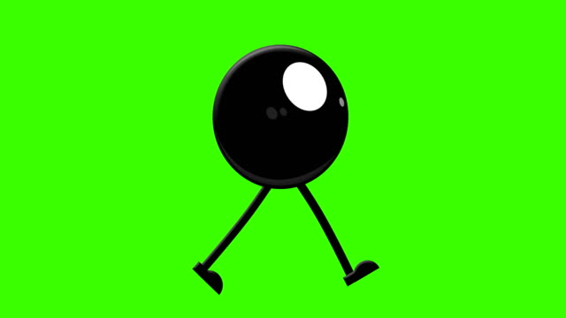 pool ball walking cycle on a mock-up green screen background - rimbalzare video stock e b–roll