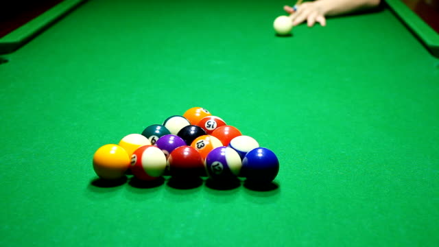 pool break - eight ball stock videos & royalty-free footage