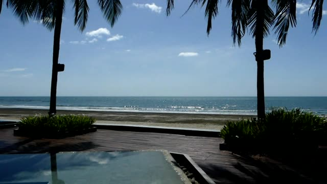 pool by the beach at hua hin sea, thailand - building terrace stock videos & royalty-free footage