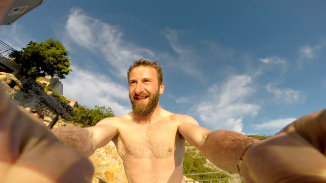 pool jumps with wearable camera - videocamera indossabile video stock e b–roll
