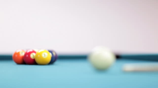 pool nine ball game (hd,ntsc) - cue ball stock videos & royalty-free footage