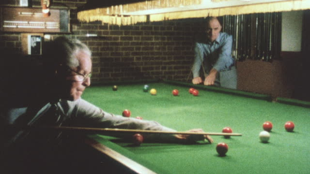 1983 montage pool players having a game at the local pool hall / united kingdom - pool hall stock videos & royalty-free footage