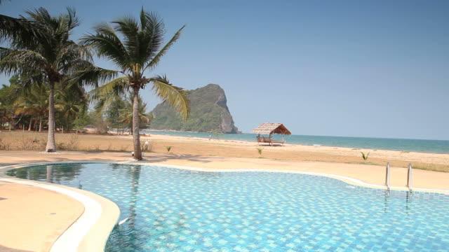 pool sea view - poolside stock videos & royalty-free footage