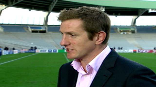 pool stage england v samoa france nantes ext will greenwood interview sot - nantes stock-videos und b-roll-filmmaterial