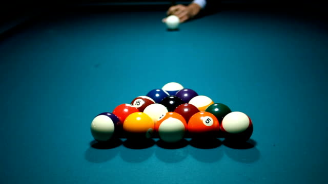 stockvideo's en b-roll-footage met pool table and balls making start shot - number 8