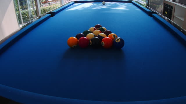 Pool Table and Balls Making Start Shot