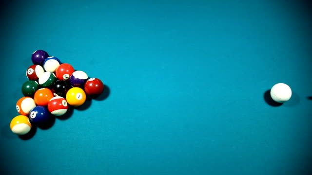 pool table starting shot upper angle - pool table stock videos & royalty-free footage