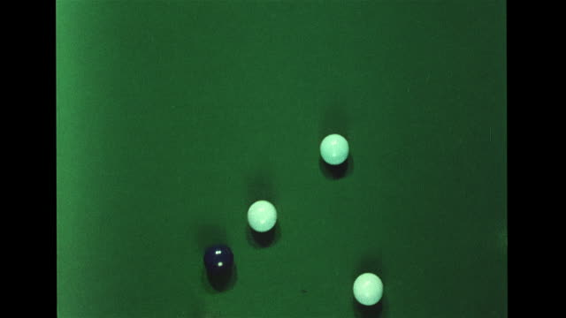 pool table w/ billiard all in circle ball breaking balls rolling on table ball hitting each other discs air cushioned discs on table moving together... - pool table stock videos & royalty-free footage