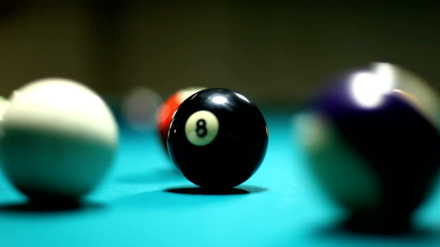 stockvideo's en b-roll-footage met pool table white billards ball prevent number 8 - number 8
