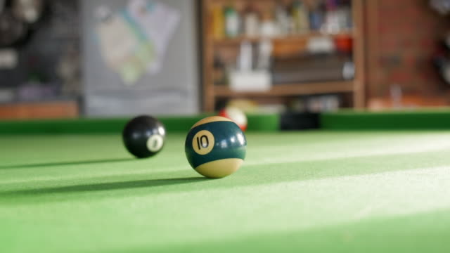 pool table with 10 ball in focus - number 10 stock videos & royalty-free footage