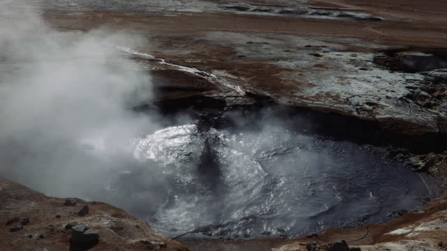 pool with boiling geothermal water. iceland natural landmark - natural landmark stock videos & royalty-free footage