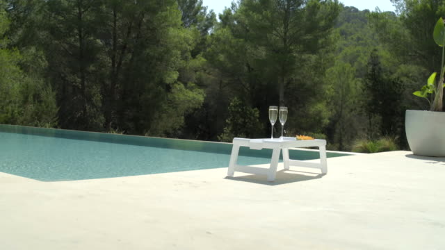 poolside champagne (wide) - patio stock videos & royalty-free footage