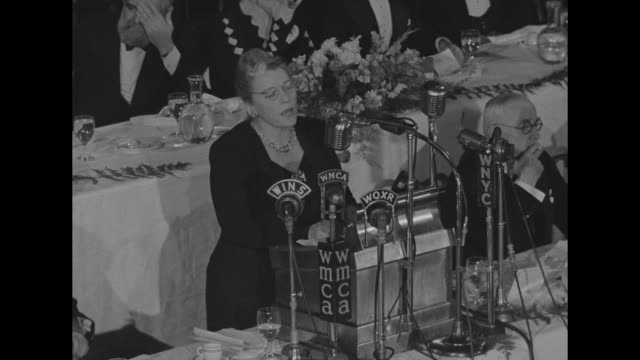[poor audio throughout] sot author pearl s buck winner of a past nobel prize for literature stands at lectern with microphones of wins wmca woxr wnyc... - nobel prize in literature stock videos & royalty-free footage