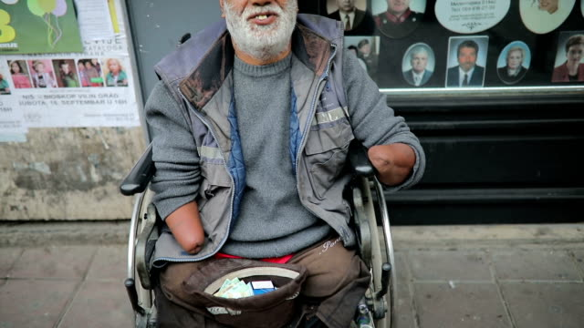 Poor disabled man asked money on street