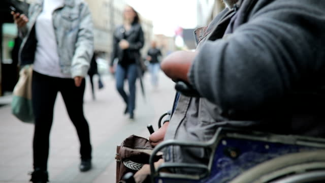 poor disabled man asked money on street - begging social issue stock videos and b-roll footage
