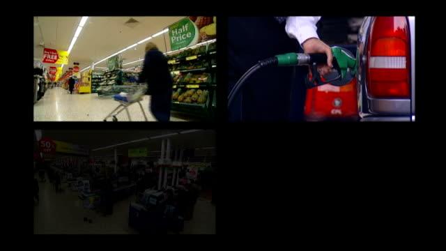 vídeos y material grabado en eventos de stock de poor growth and consumer spending figures fall in supermaket sales graphicised sequence / split screen supermarket scenes petrol filling station... - pantalla dividida