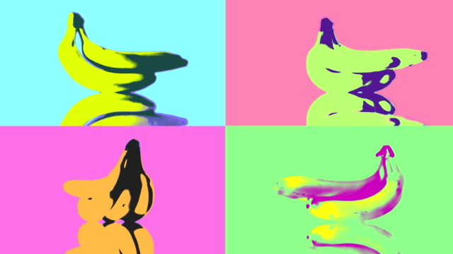 pop art bananas loop. hd - banana stock videos & royalty-free footage
