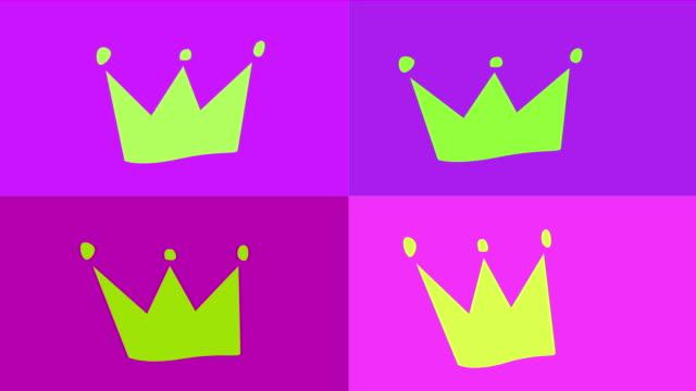 4k pop art - crown animation |loop - crown stock videos & royalty-free footage