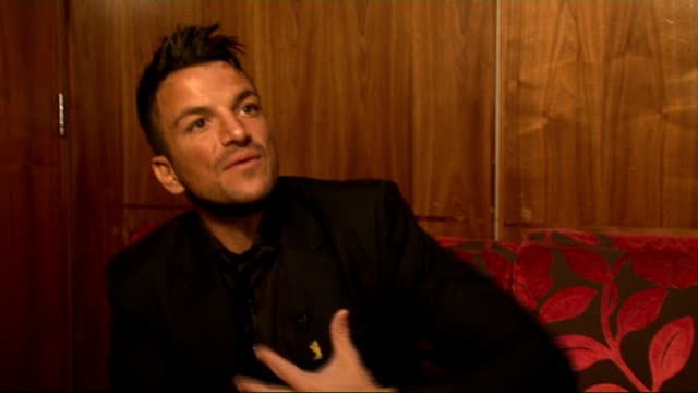 'pop goes the musical' photocall and interviews peter andre interview sot how he got involved with the project i'm doing 'ghost' which is amazing and... - photo call stock videos & royalty-free footage