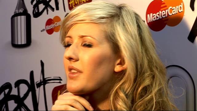 vídeos de stock, filmes e b-roll de 2010 brit award nominations ellie goulding speaking to reporters ellie goulding interview sot - ellie goulding