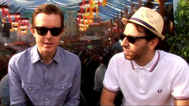 2010 wireless festival interviews tinie tempah talking to film crew chase and status interview sot whether we should call them chase and status or... - jedward stock videos and b-roll footage
