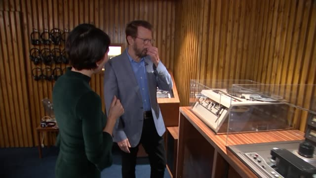 ABBA exhibition at London Southbank Centre Southbank Centre INT Bjorn Ulvaeus interview as touring exhibition with reporter SOT/ Various of ABBA...