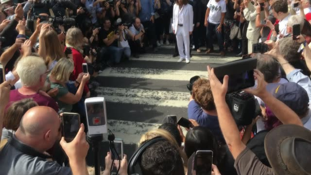 beatles fans flock to abbey road to mark 50th anniversary of album's cover photograph england london abbey road ext **'come together' by the beatles... - doppelgänger stock-videos und b-roll-filmmaterial