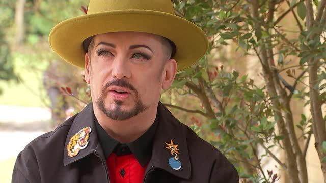 boy george interview on his youth and returning to the stage post-covid; england: london: hampstead heath / kenwood house: ext boy george interview... - music stock videos & royalty-free footage