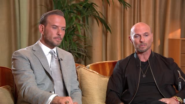 bros documentary nominated for three awards at bafta television awards england london int luke goss and matt goss interview sot re followup to... - british academy television awards stock videos & royalty-free footage