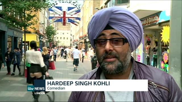 'carnaby sound' music festival england london carnaby street ext hardeep singh kohli interview sot - ブロードキャスター ハーディープ・シン・コリー点の映像素材/bロール