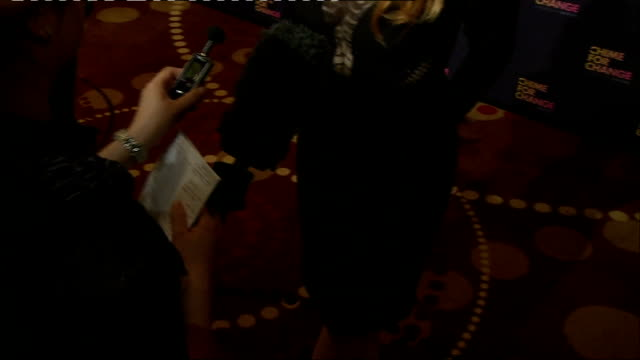 Chime for Change concert Backstage interviews Jessica Chastain chatting to press Jessica Chastain interview SOT Chastain's shoes / Chastain chatting...