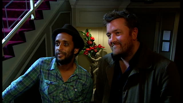 elbow interview england london int guy garvey and pete turner interview sot discuss mercury music prize nomination - elbow stock videos & royalty-free footage