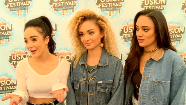 Fusion Festival backstage interviews The Vamps posing for photocall interview SOT Been working hard for two years / Frustrated that they've done a...
