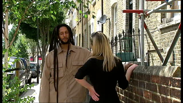 julian marley in london; england: london: islington: ext julian marley interview sot - bob marley musician点の映像素材/bロール