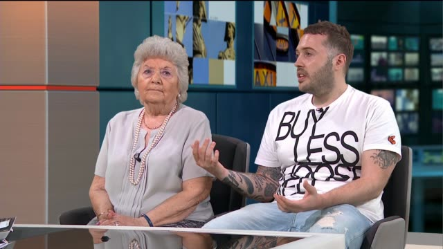 london 'grime gran' serves up tea and advice to grime artists england london gir int margaret keefe and her grandson roony keefe studio interview sot - grandson stock videos & royalty-free footage