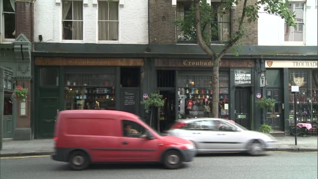 london's troubadour club threatened with closure; england: london: earls court: ext gvs troubadour club / coffee house - earls court stock videos & royalty-free footage