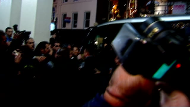 michael jackson arrives at theatre royal england london theatre royal photography * * massive press scrum waiting as michael jackson out of vehicle... - theatre royal stock videos and b-roll footage