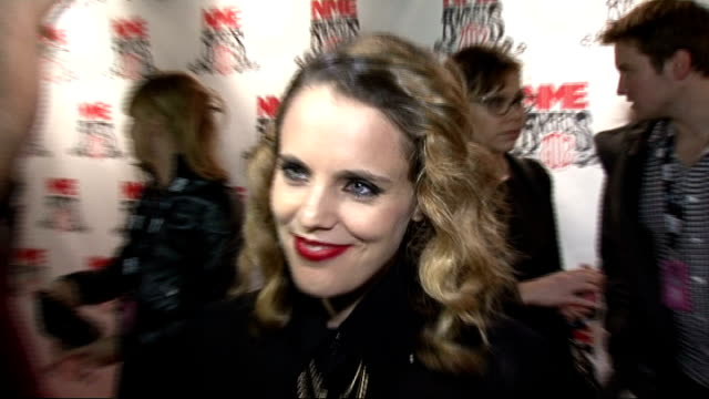 NME Awards 2012 arrivals and interviews Red Carpet interview with member sof The Vaccines SOT Anna Calvi talking to press on red carpet and interview...