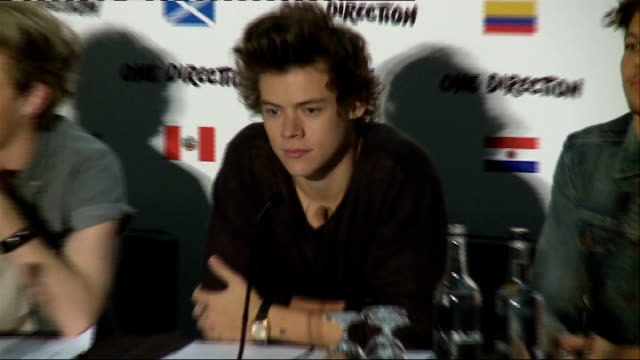 One Direction announce world tour press conference ENGLAND London THROUGHOUT** One Direction into press conference and announcing 2014 worldwide...